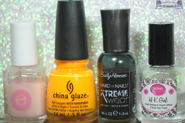 Essie Grow Stronger, China Glaze Sun Worshiper, Sally Hansen Xtreme Wear Black Out, Glisten & Glow HK Girl Fast Drying Top Coat