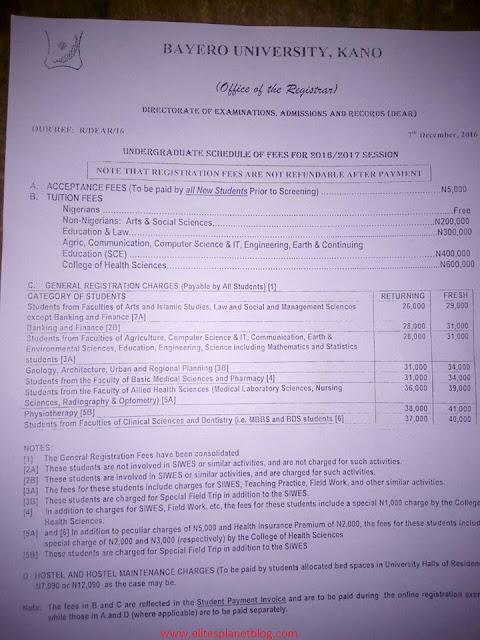 BUK 2016-17 Undergraduate Schedule Of Fees [Fresh & Returning Students]