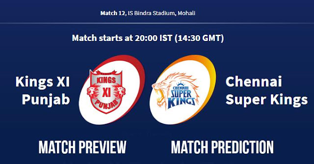 IPL 2018 Match 12 KXIP vs CSK Match Prediction, Preview and Head to Head Who Will Win