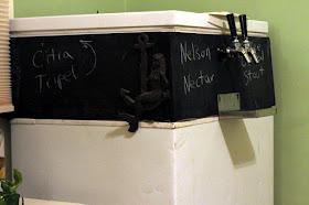 Chalkboard Kegerator, sorry for my poor handwriting.