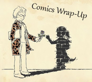 comcis wrap-up title image with manga-style woman handing a flower to child-like shadow