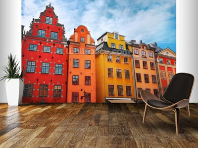 stockholm tapet hus fototapet stad fondtapet