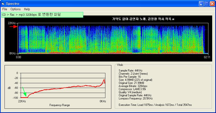 푸바 Foobar2000 사용법 - 가짜 FLAC 파일은 어떻게 다를까 - Spectro