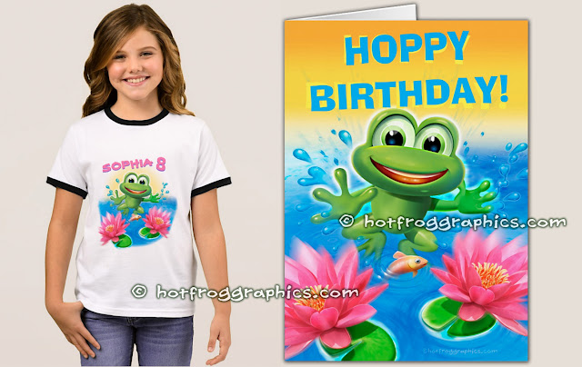 Birthday T shirt and card from Leaping Frog range by Hot Frog Graphics