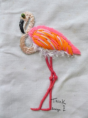 bidulafil broderie en relief - stumpwork - flamant rose - flamingo embroidery