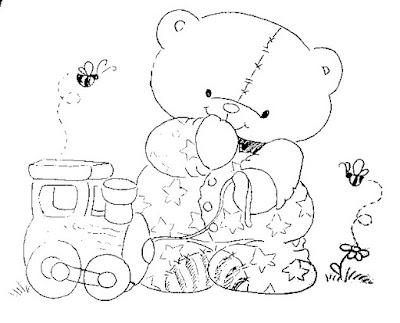 desenho de bebe ursinho com trenzinho de brinquedo