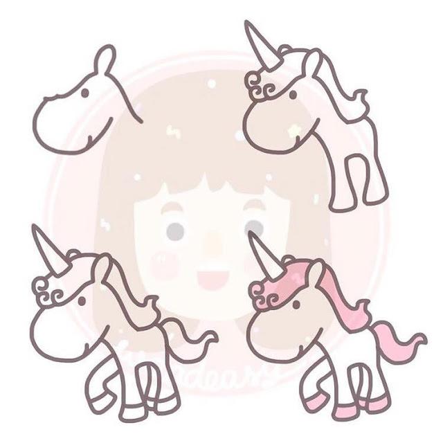 Cara menggambar kuda unicorn