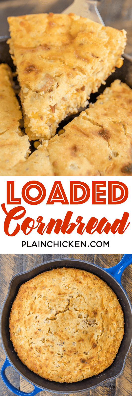 Loaded Cornbread - our favorite cornbread loaded with cheddar cheese, green chiles, creamed corn and bacon! OMG! I could have made a meal out of this yummy cornbread. Great side dish for soups and grilled meats. Give this a try ASAP! SO good!! #cornbread #bacon #bread #sidedish
