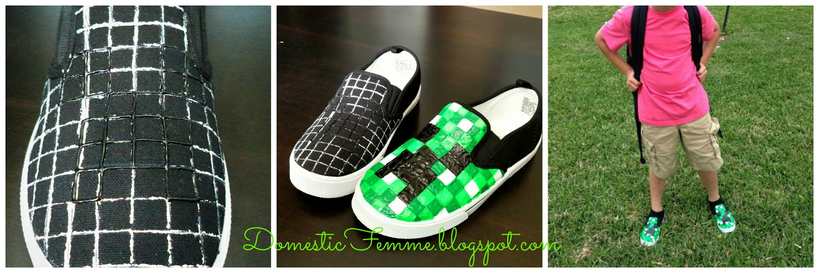 a4fca632aa Minecraft Creeper Shoes Tutorial by Domestic Femme  Puff  Fabric  Paint   Paint