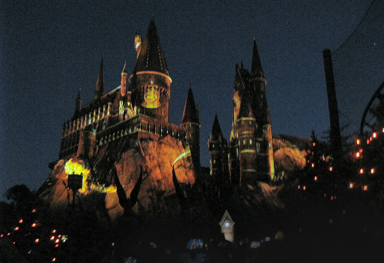 Nighttime Lights at Hogwarts Castle Gryffindor