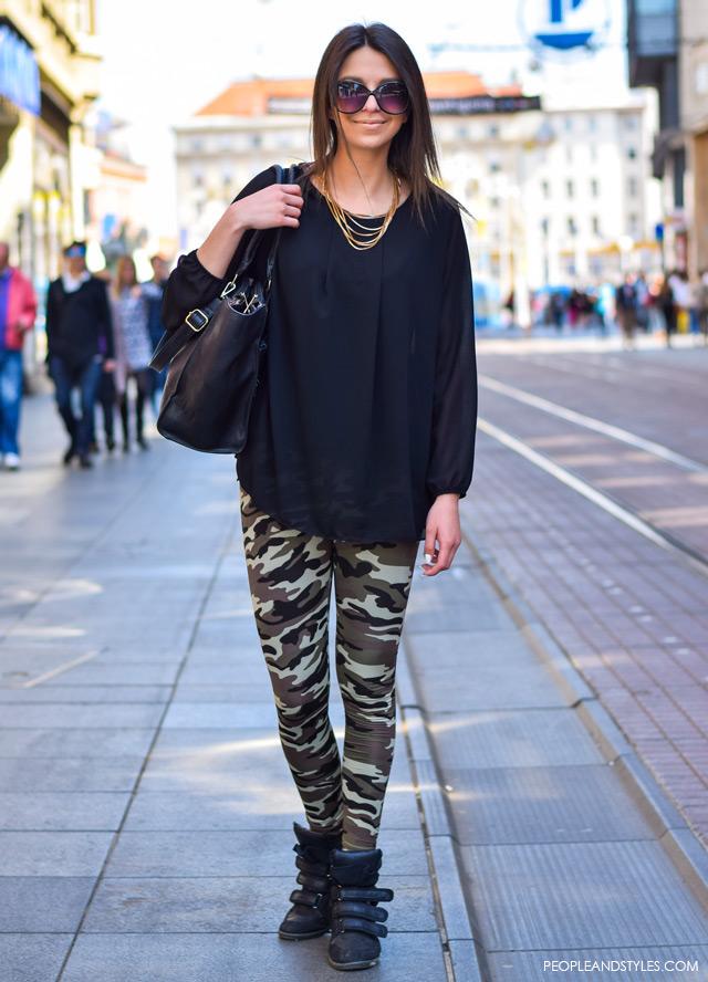 How to style como leggins, street style looks May Zagreb, Croatia, Marela Hrkač, camo leggings
