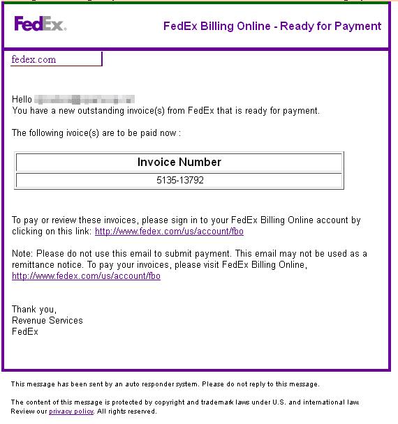 Dynamoo's Blog: Fedex spam / oxfordxtg net