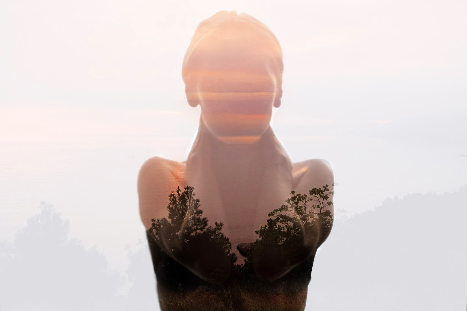 Double exposure photography, how to use double or multiple exposure in photography, naked nature girl, sunset inside of me, nina sinitskaya photography, grainpixels