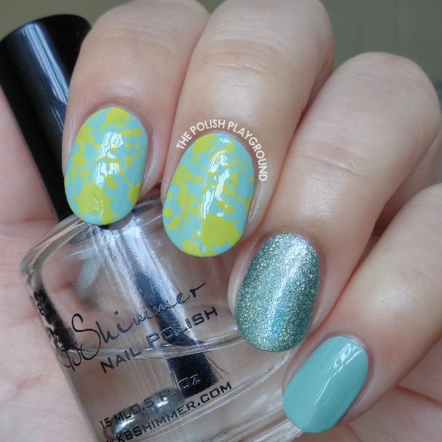 Green and Yellow Splatter Inspired Stamping Nail Art