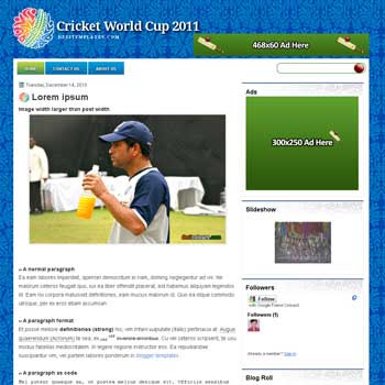 ICC Worldcup 2011 blogger template.Blogetter blogspot template. 2 column blogger template. 2 column blogspot template