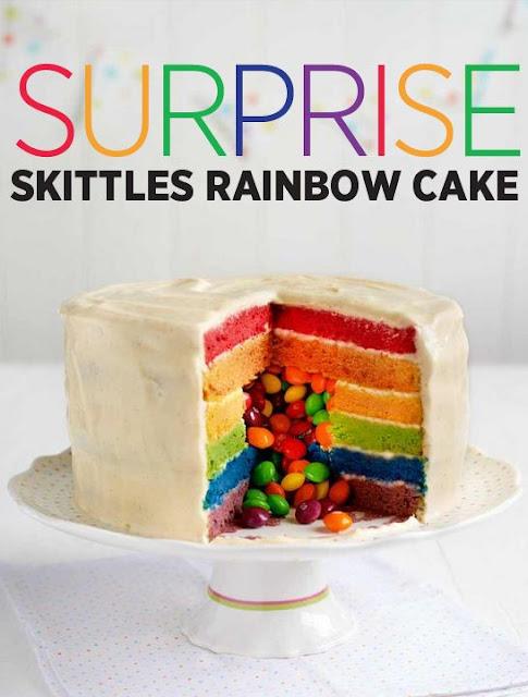 Surprise Skittles rainbow cake