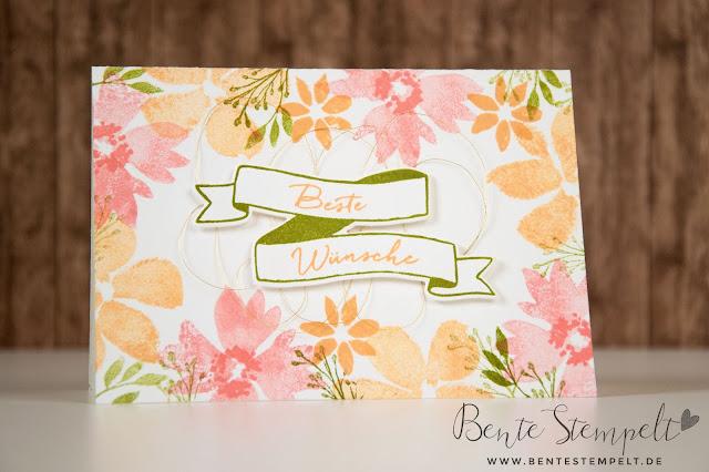 Stampin Up Bannereien Bunter Banner Mix Blumen für dich Blumenrahmen Flamingorot  Pfirsich Pur Olivgrün