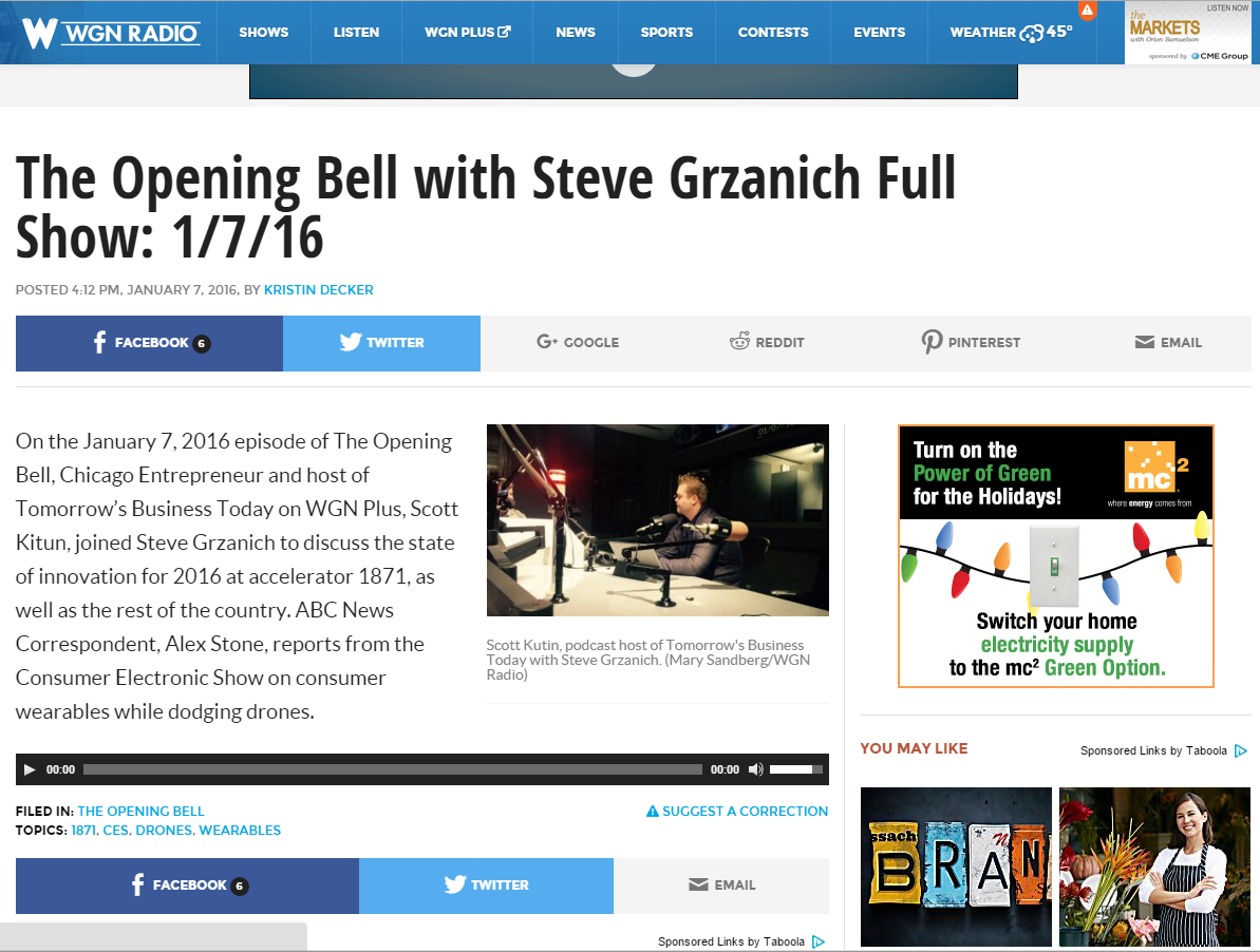 Hindsight : 1871 Featured on WGN's The Opening Bell Podcast
