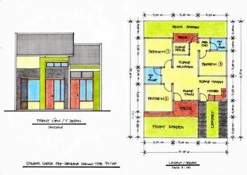 Desain Denah Rumah Minimalis 3 Kamar Tidur Desain Rumah
