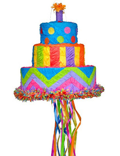Pinata à tirer - Forme gâteau anniversaire
