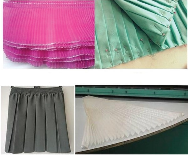 Crystal pleating, hand pleating, box pleats and fan-shaped pleats
