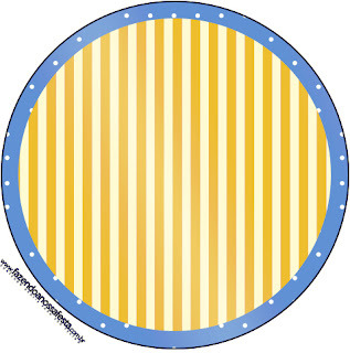 Toppers o Etiquetas de Corona Dorada en Azul y Amarillo para imprimir gratis.