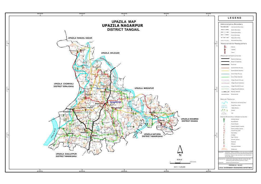Nagarpur Upazila Map Tangail District Bangladesh