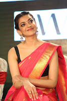 Kajal Aggarwal in Red Saree Sleeveless Black Blouse Choli at Santosham awards 2017 curtain raiser press meet 02.08.2017 059.JPG