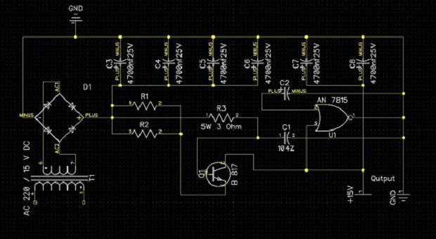 Membuat Power Supply Sederhana Daya Output dan Input 15 Volt Stabil