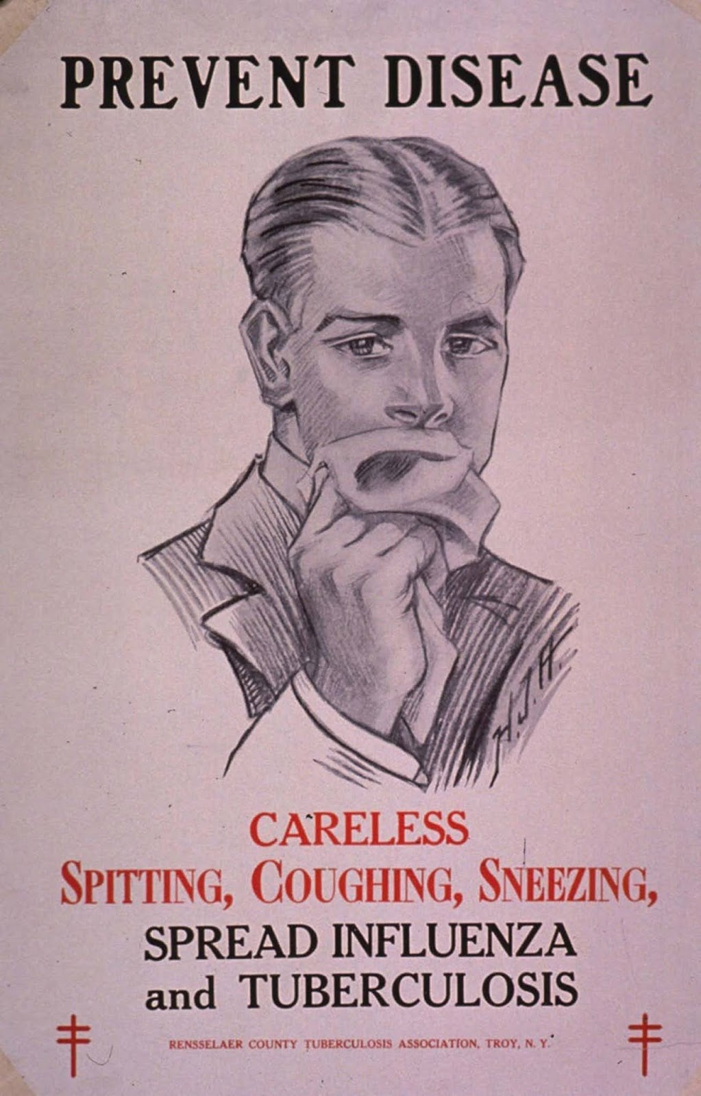 A poster distributed by Rennsselaer County Tuberculosis Association in New York in 1918.