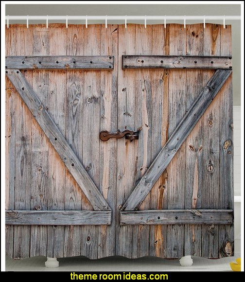 Country Decor Old Wooden Garage Door American Country Style Decorations for Bathroom Photography Print Vintage Rustic Decor Home Antiqued Look Polyester Fabric Shower Curtain