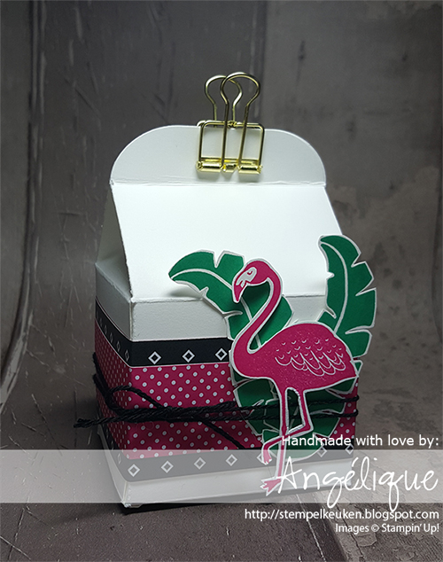 http://stempelkeuken.blogspot.com/2016/07/stampin-up-pop-of-paradise-dag-3.html Stempelkeuken, Pop of Paradise, Pop of Pink DSP,  Bakers Box Thinlits, Emerald Envy, Melon Mambo, Paper Snips, Baker's Twine, Basic Black, Gold Binder Clips