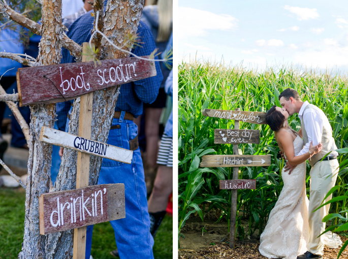 Rustic Wedding Signs / Merry Character Photography
