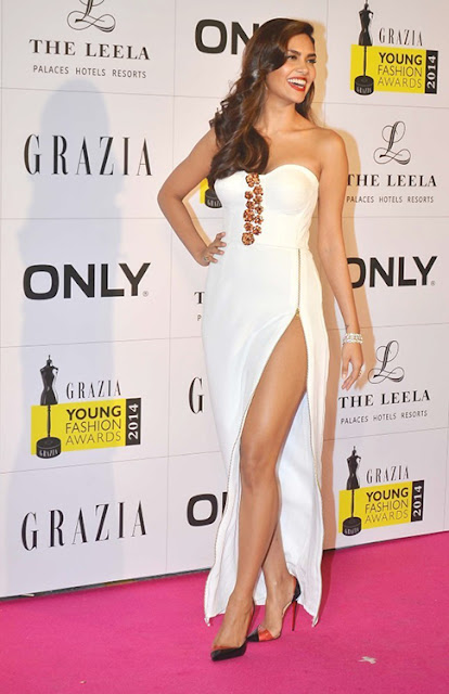 Esha gupta in Thigh High Slit Dress