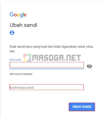 Jika kode telah benar, Google akan menunjukan jendela dimana Anda bisa reset password email google dengan yang baru.
