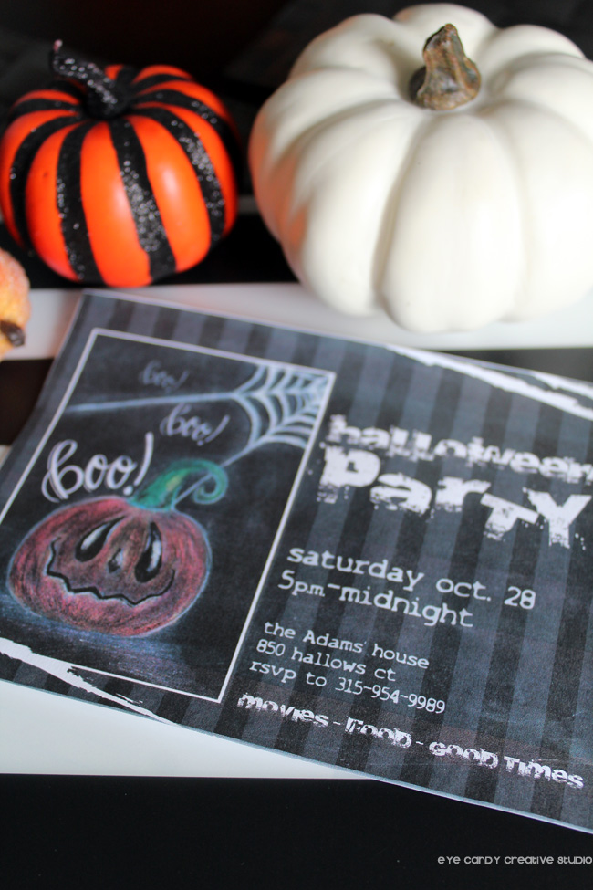 chalk art, pumpkin invitation, halloween invite, halloween party invite