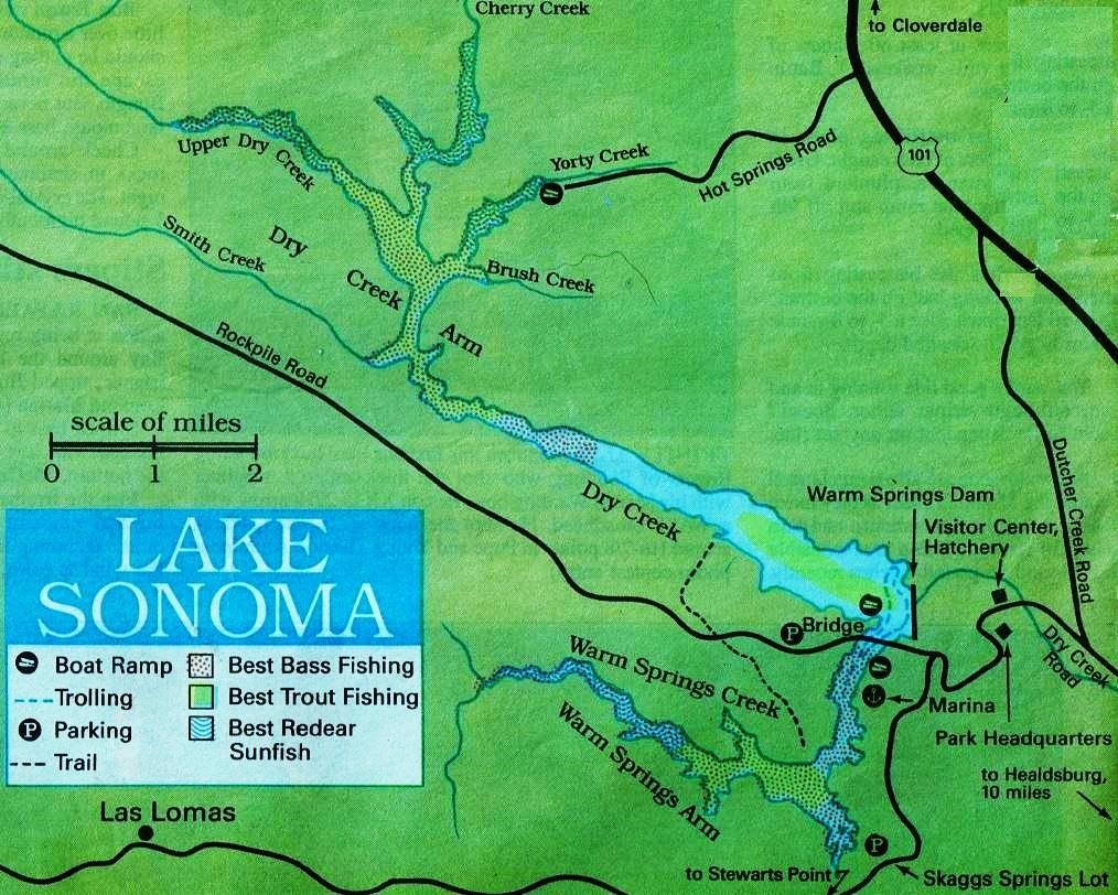 2017 lake sonoma fishing map report plus sonoma hunting for Oregon free fishing day 2017