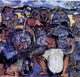 Lukisan Sudjana Kerton dengan warna-warna yang ekspresif