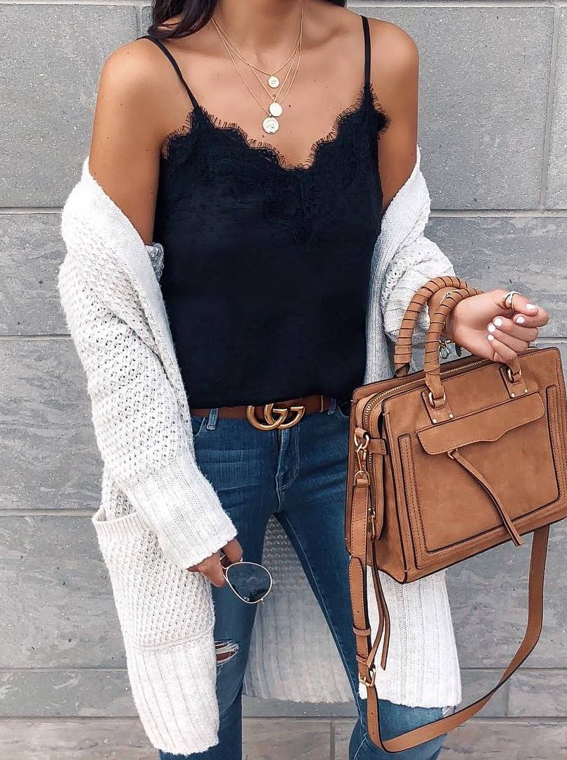 stylish look / black lace top + white knit cardigan + brown bag + rips