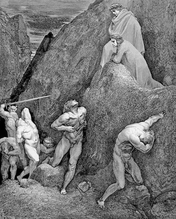 Maomé no inferno com as vísceras abertas. Ilustração de Gustave Doré (1832 – 1883) para a Divina Commedia de Dante Alighieri.