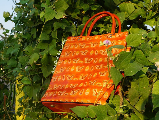 Leather Tote Squirrel Acron Orange Print