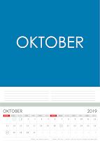 Simple Desain Kalender 2019 Indonesia bulan Oktober beserta Hari Libur Nasional