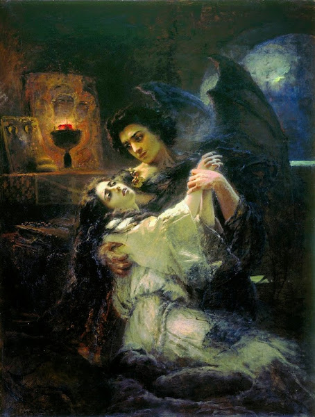 Tamara and Demon, Konstantin Makovsky, Macabre Art, Macabre Paintings, Horror Paintings, Freak Art, Freak Paintings, Horror Picture, Terror Pictures, Russian painter, Russian painting, Pintor ruso, Pintura rusa, Morbid artTamara and Demon by Konstantin Makovsky