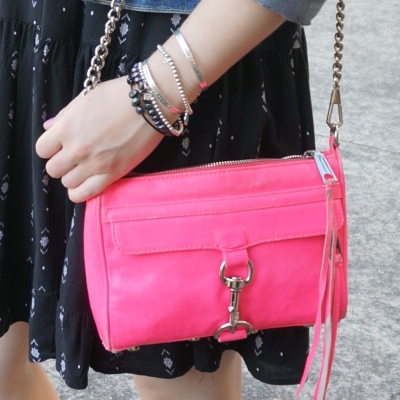 neon pink rebecca minkoff mini MAC bag with little black dress | Away From The Blue