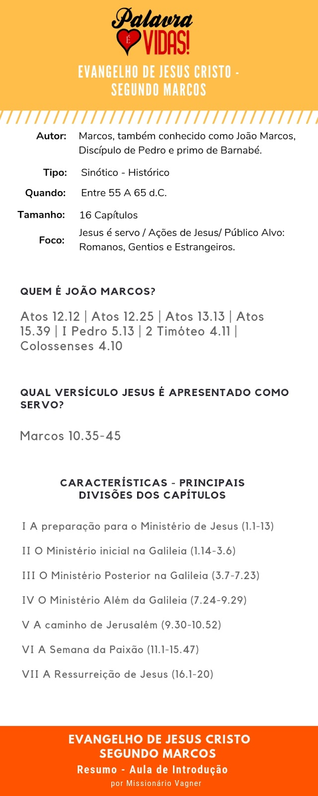 Resumo Bíblico - Evangelho de Marcos