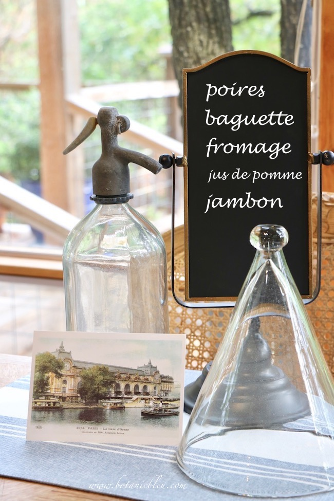 French Country Kitchen Summer to Fall Blackboard in Table Vignette