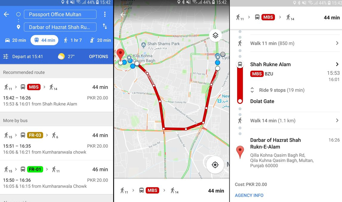 Google maps would now be able to Show Metro Bus Routes and timings in Multan