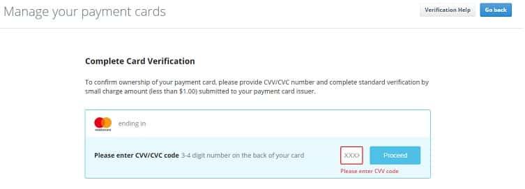 tarjeta verificación cex.io