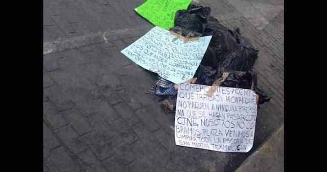 """""""Empezó la limpia""""; El CJNG abandona bolsas con restos humanos en pleno zócalo de Puebla"""
