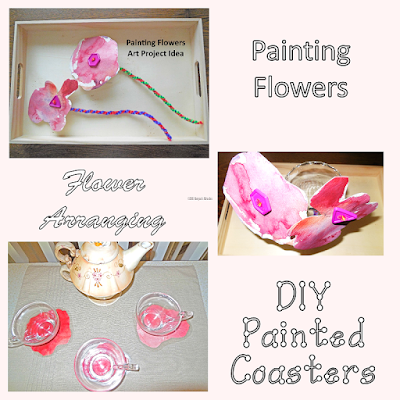 paint flowers to use in flower arranging and in DIY coasters for toddlers